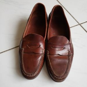 Cole haan leather penny loafers braided brown 12